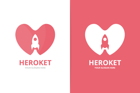 Heart and rocket logo combination. Unique romantic and spaceship logotype design template.