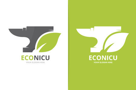 Vector smith and leaf logo combination. Unique metal and organic logotype design template.