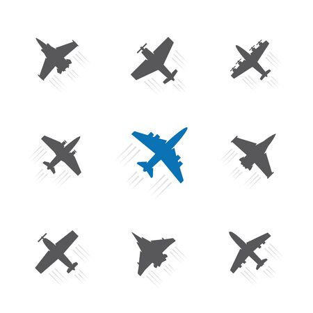 Set of different airplane with trace symbols. Aircraft, plane black silhouette.