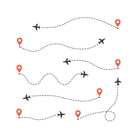 Set of different airplane routes. Plane route lines. Aircraft tracking path 向量圖像