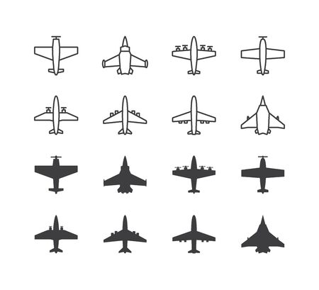 Airplane symbols set. Aircraft, plane icons or signs concept. 向量圖像