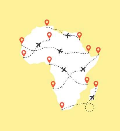 Africa map with airplane flight paths on a yellow background