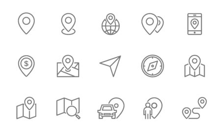 Set of route and navigation line icons. Map pointer, gps, compass, parking pin, direction and more.