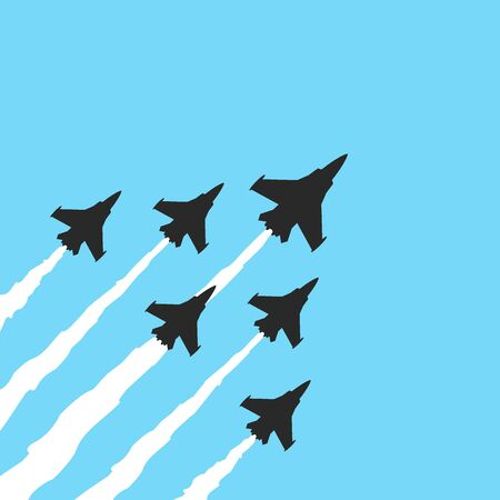 Military fighter jets on a blue background. Vector airplane show banner