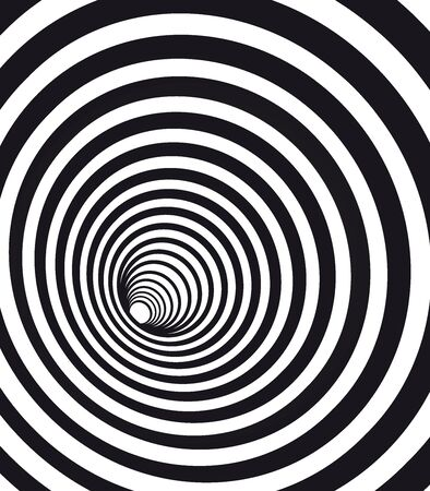 Abstract geometric hypnotic spiral. Black wormhole tunnel optical illusion.