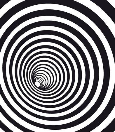 Abstrakte geometrische hypnotische Spirale. Optische Täuschung des schwarzen Wurmlochtunnels.