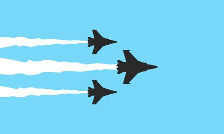 Vector illustration flat design of three military fighters symbols on blue background. Jets show vector illustration Banque d'images - 126275597