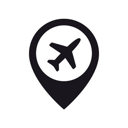 Airplane in location pin symbol. Plane, aircraft icon or sign concept. 向量圖像