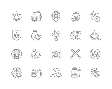 Set of cannabidiol line icons. CBD, cannabis, marijuana oil, treatment, weed, tobacco, hemp flower buds and more.