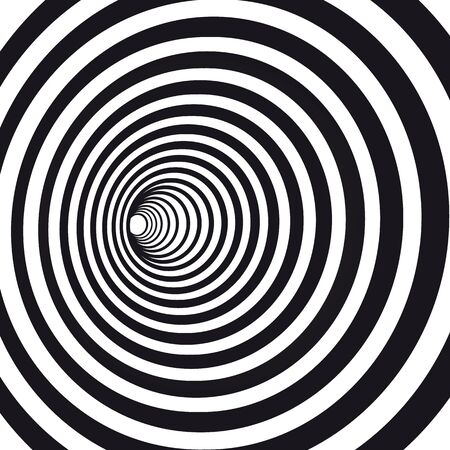 Abstract black and white striped optical illusion. Geometric hypnotic spiral. Geometrical wormhole shape pattern illustration 向量圖像