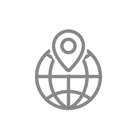Location mark with globe line icon. Travel and map, navigation symbol and sign 向量圖像