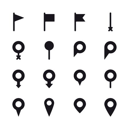 Set of different location mark symbols. Map pointer, location pin icons.