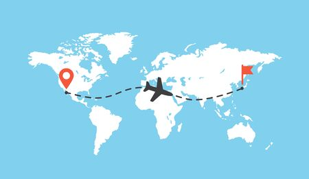Vector illustration flat design of worldmap with airplane trace vector illustration. Aircraft track path on map, plane route line. Blank white planet Earth map isolated on blue background.