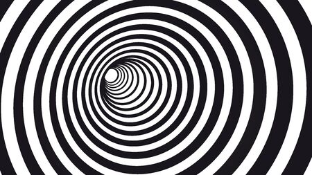 Geometric hypnotic spiral. Black and white striped optical illusion illustration. Geometrical wormhole shape pattern.