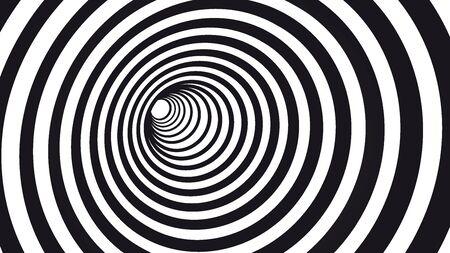 Spirale hypnotique géométrique. Illustration d'illusion d'optique à rayures noires et blanches. Motif géométrique en forme de trou de ver.