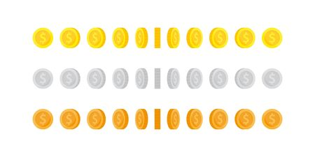 Set of vertical rotation gold, silver and bronze coins for animation. 向量圖像