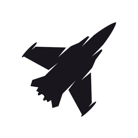 Black military aircraft symbol. Fighter jet, aircraft icon or sign concept. Illustration