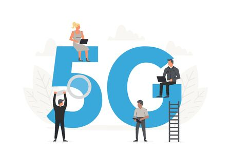 5G network wireless concept. Office people sitting and standing around the big letters 5G. 向量圖像