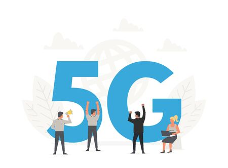 Office people standing around a big letters 5G. Fifth generation network wireless, internet technology 向量圖像