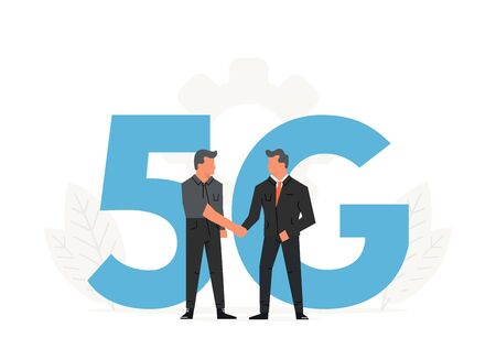 Businessmen make a contract before big letters 5G. Fifth generation network wireless, internet technology 向量圖像