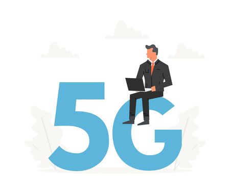 Businessman with laptop sitting on a big letters 5G. Fifth generation network wireless, internet technology 向量圖像