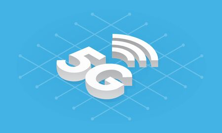 5G network wireless technology isometric. Fifth generation internet, communication, fast connection concept.
