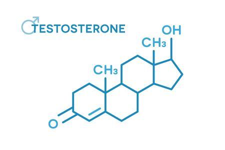 Fórmula molecular de hormonas testosterona. Símbolo de la hormona sexual
