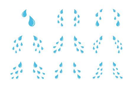 Tear drops set. Eyes crying design illustration