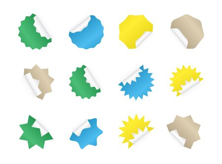 Starburst sticker set. Blank colorful sunburst badges.