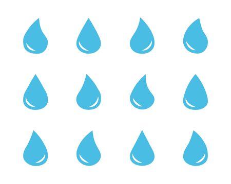 Set of vector blue water drop symbols