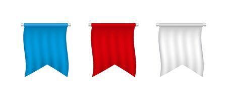 Realistic white, red, blue blank pennant set.