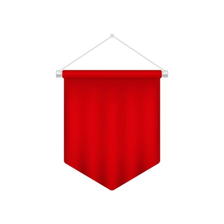 Realistic red pennant template. Blank 3D flag
