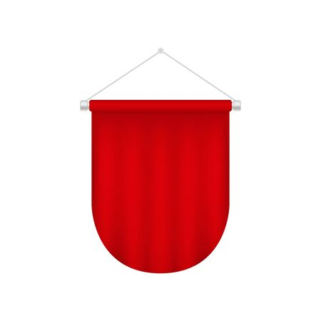 Vector realistic pennant template. Red blank flag 向量圖像