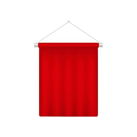 Realistic pennant template. Red blank 3D flag
