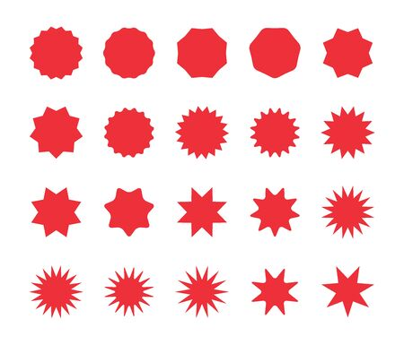 Set of red starburst badges. Blank discount offer price stickers, offer sale tag. Sunburst price labels isolated on a white background