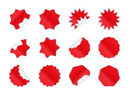 Starburst sticker set. Blank red sunburst badges. Discount offer price labels in different styles.