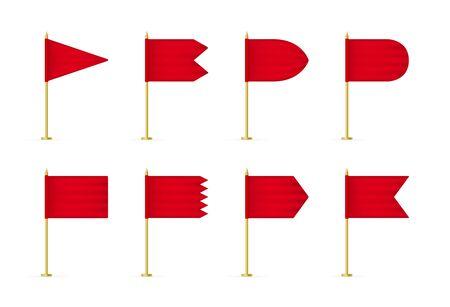 Set of vector red 3d flag mockup.