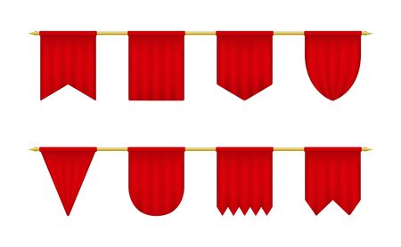 Red realistic pennant set. Empty triangle banners template.