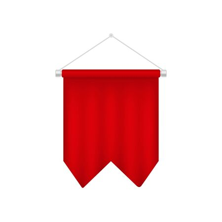 Red soccer pennant template. Realistic football 3D flag