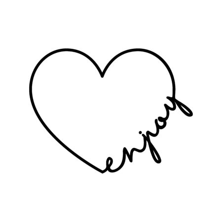 Enjoy - calligraphy word with hand drawn heart. Lettering symbol illustration for t-shirt, poster, wedding, greeting card 向量圖像