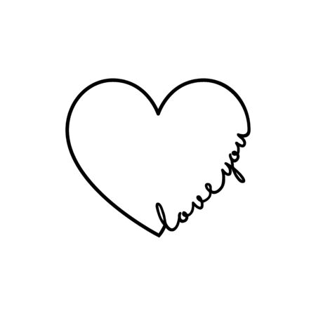 Love you - calligraphy word with hand drawn heart. Lettering symbol illustration for t-shirt, poster, wedding, greeting card