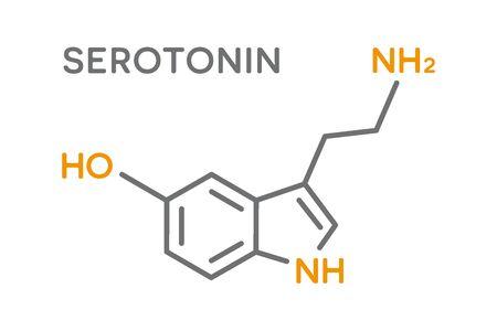 Serotonin hormone molecular formula. Human body hormones symbol 向量圖像