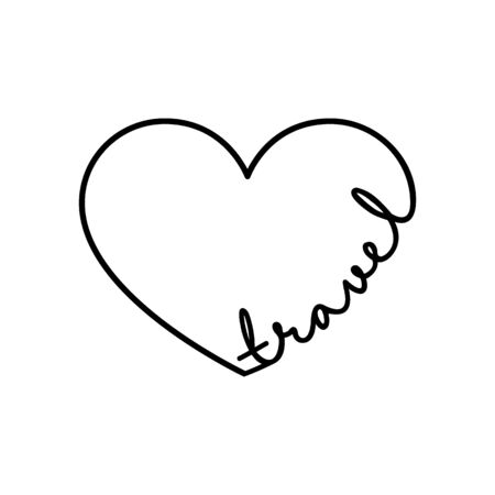 Travel - calligraphy word with hand drawn heart. Lettering symbol illustration for t-shirt, poster, wedding, greeting card 向量圖像