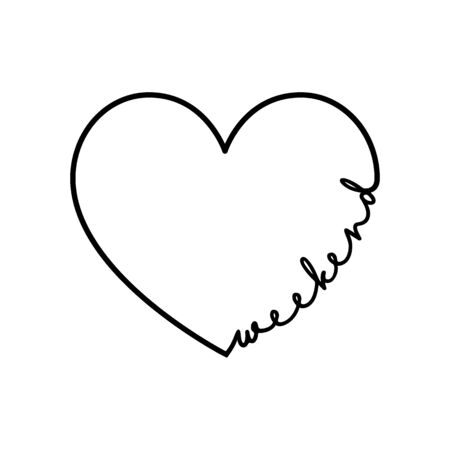 Weekend - calligraphy word with hand drawn heart. Lettering symbol illustration for t-shirt, poster, wedding, greeting card 向量圖像