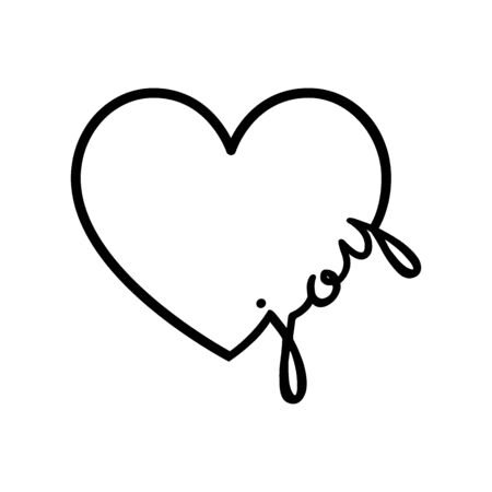 Joy - calligraphy word with hand drawn heart. Lettering symbol illustration for t-shirt, poster, wedding, greeting card 向量圖像
