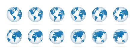 Realistic world globe maps set. 3D blue planets illustration