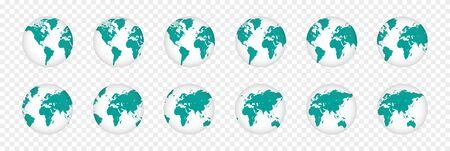 Set of realistic 3D planet maps. World globe illustration 向量圖像