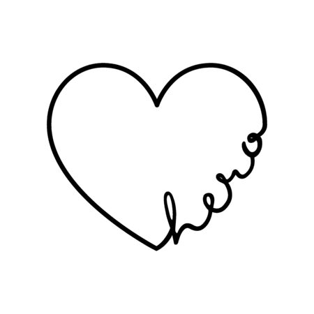 Hero - calligraphy word with hand drawn heart. Lettering symbol illustration for t-shirt, poster, wedding, greeting card isolated on a white background. 向量圖像
