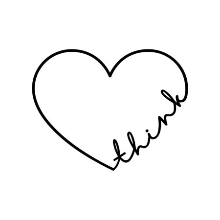 Think - calligraphy word with hand drawn heart. Lettering symbol illustration for t-shirt, poster, wedding, greeting card isolated on a white background. 向量圖像