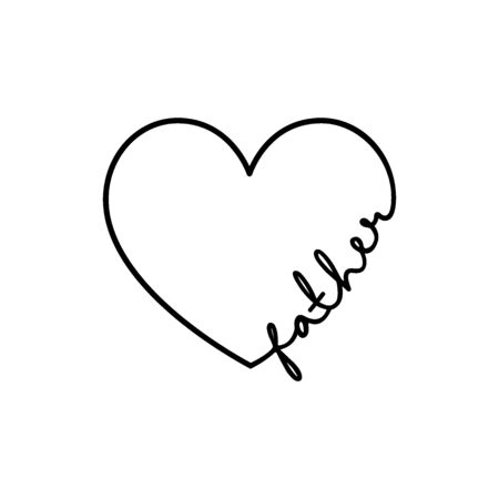 Father - calligraphy word with hand drawn heart. Lettering symbol illustration for t-shirt, poster, wedding, greeting card isolated on a white background.